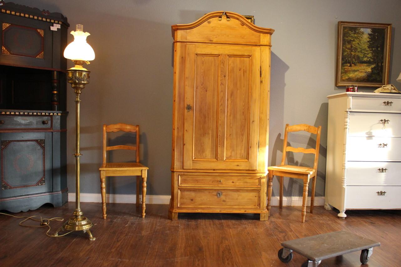 Kleiderschrank schmal mit zwei Schubladen  Kiefer honigfarben (Art.-Nr.: 03203)