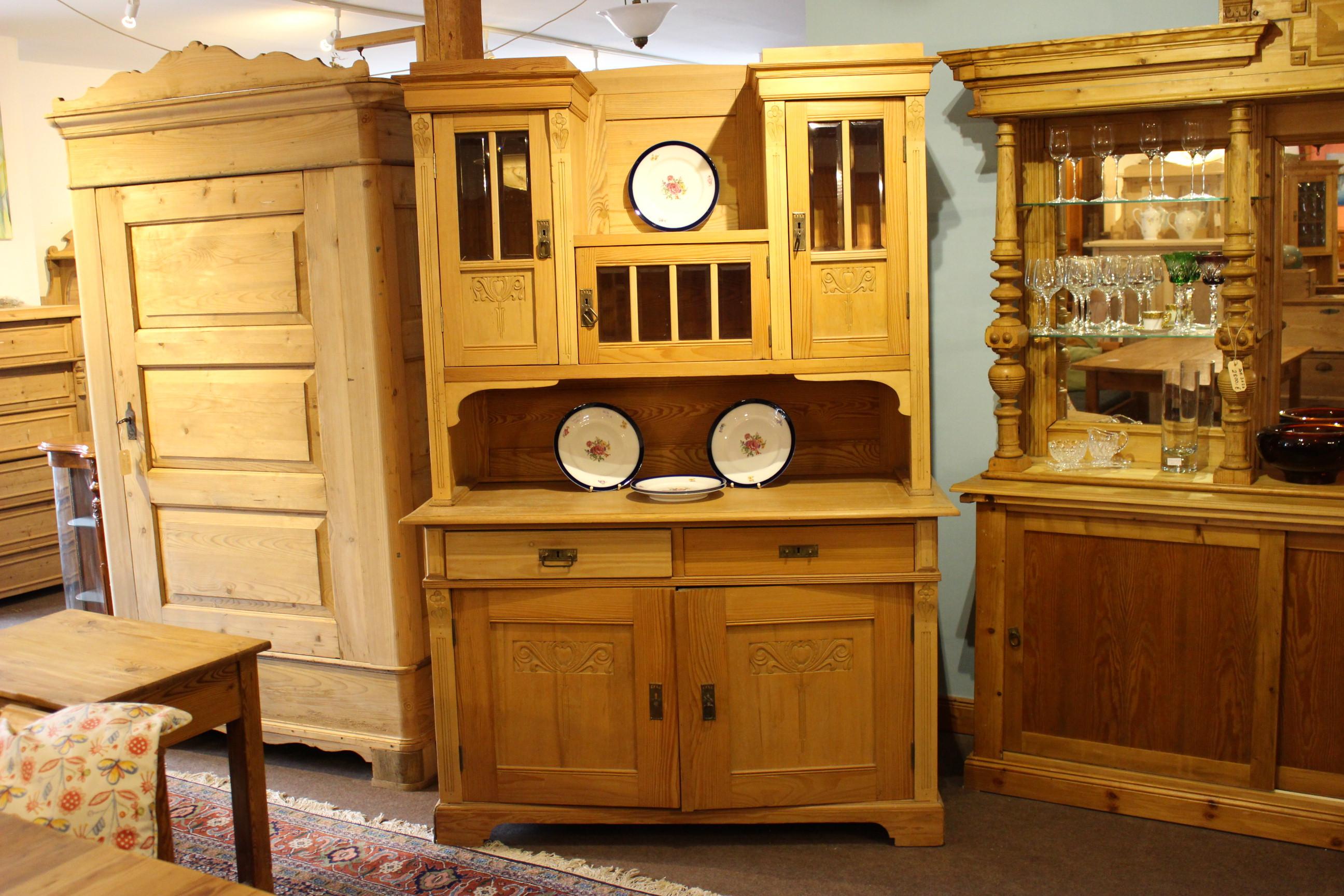 Antiker Küchenschrank Kiefer, Jugendstil (Art.-Nr.: 03734)