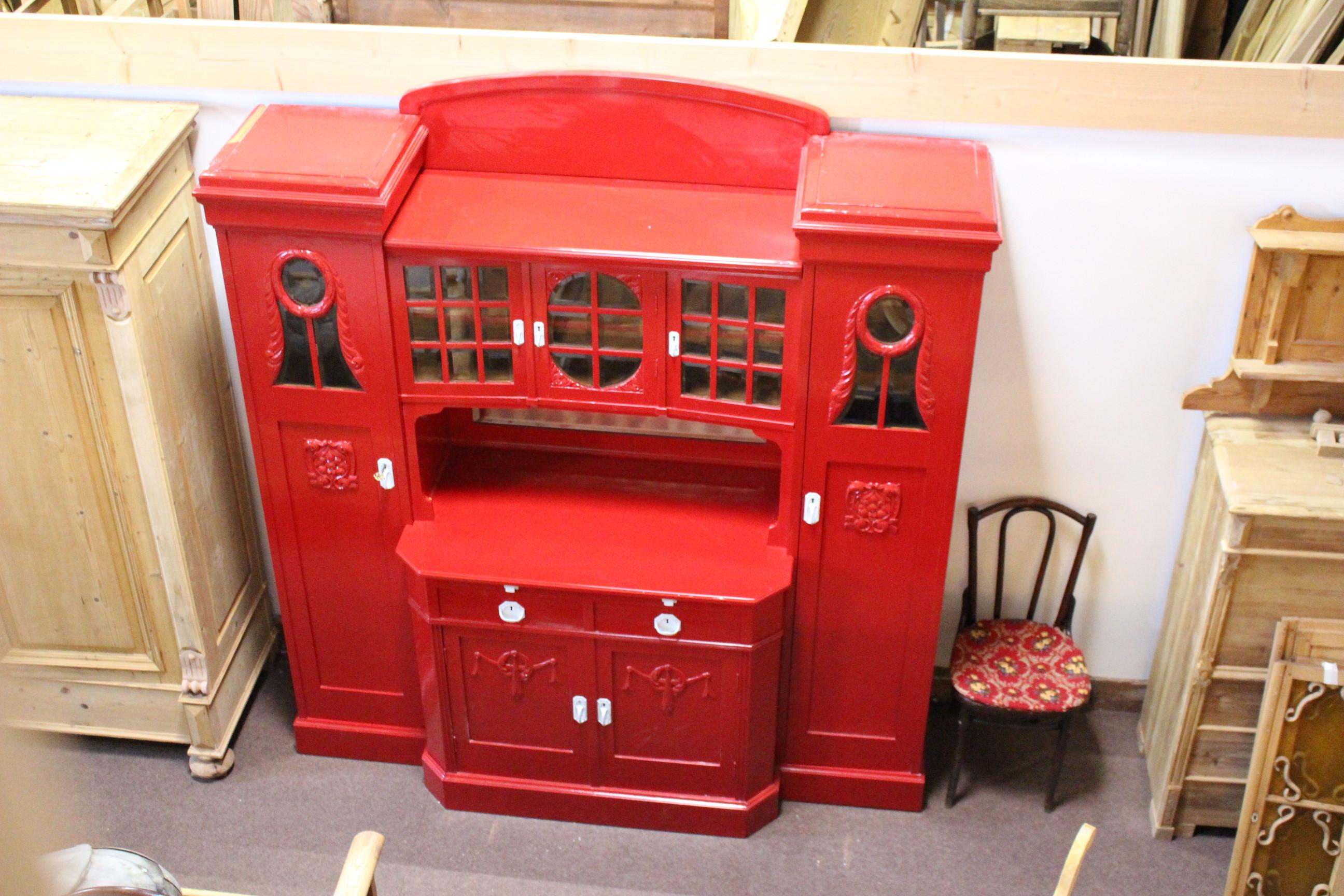 Buffetschrank mit Seitentürmen Turmbuffet, rot hochglanzlackiert (Art.-Nr.: 03607)