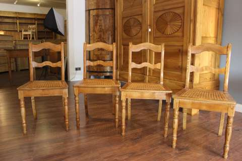 4 Biedermeier Stühle Esche Geflecht erneuert (Art.-Nr.: 03023)