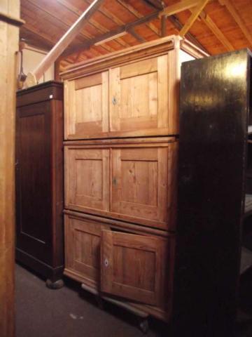 Brandschrank 3teiliges Möbel Kiefer abgelaugt Biedermeierstil (Art.-Nr.: 01281)