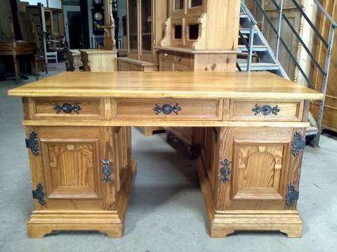 Jugendstil Schreibtisch zerlegbar freisteher Kiefer restauriert (Art.-Nr.: 01964)