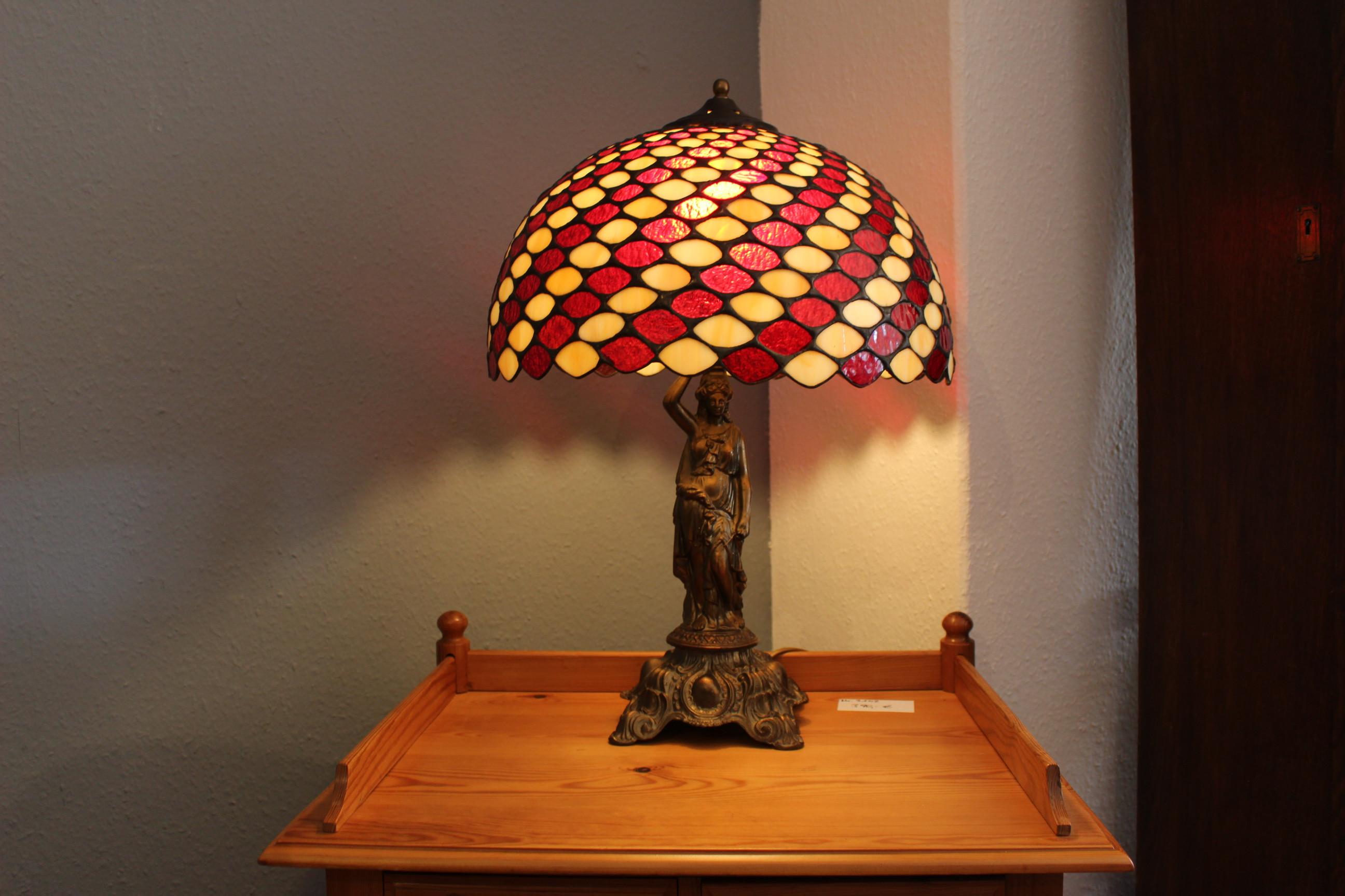Tiffany Lampe mit Messing Fuß (Art.-Nr.: 03358)