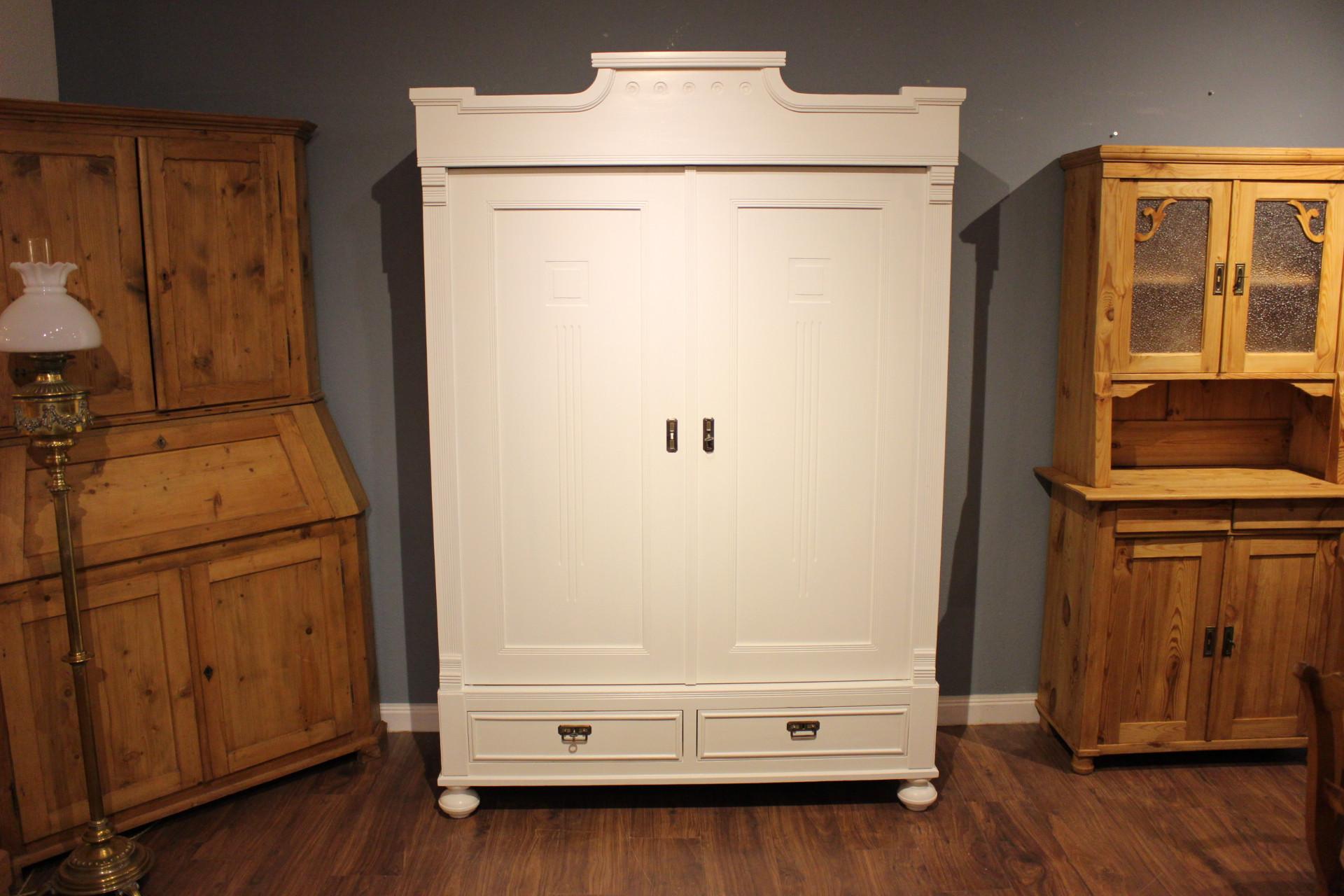 zerlegbarer Kleiderschrank weiß Jugendstil (Art.-Nr. 03506)